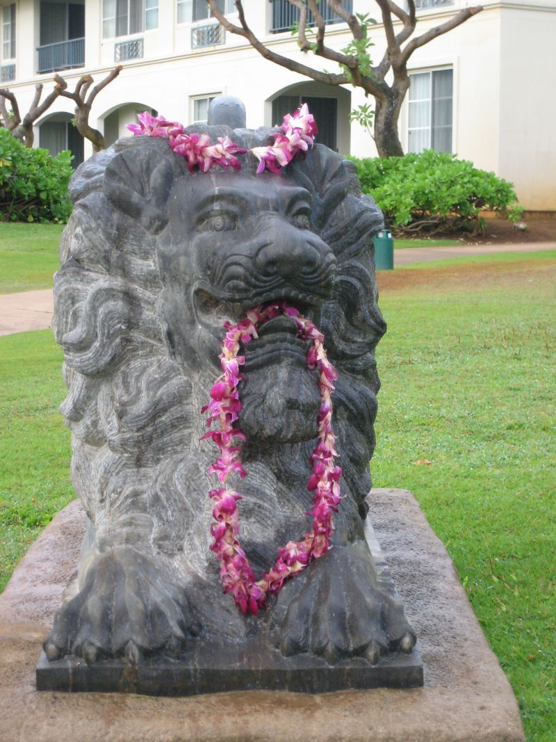Lion with lei